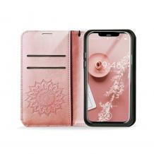 Кожен калъф Mezzo Book със стойка за Apple iPhone 6 / iPhone 7 / iPhone 8 / iPhone SE2 2020 – Rose Gold
