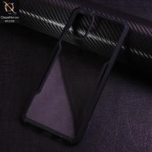 Луксозен твърд гръб Hybrid със силиконов кант за Samsung Galaxy A51 - прозрачен / черен кант