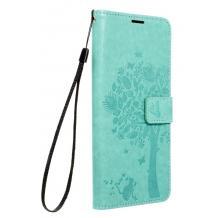 Кожен калъф Mezzo Book със стойка за Samsung Galaxy S21 Ultra – дърво / мента