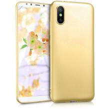 Силиконов калъф / гръб / TPU за Xiaomi Mi 8 Pro - златист / мат