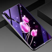 Луксозен стъклен твърд гръб със силиконов кант за Xiaomi Redmi Mi A3 - розови лалета