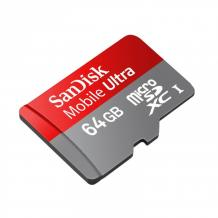 MicroSDXC памет карта + SD адаптер - SanDisk microSDXC Card 64GB Ultra 10 клас