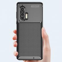 Луксозен силиконов калъф / гръб / TPU Auto Focus за Motorola Moto Edge Plus - черен / Carbon
