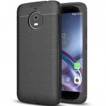 Луксозен силиконов калъф / гръб / TPU за Lenovo Moto G5S - черен / имитиращ кожа