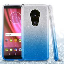 Силиконов калъф / гръб / TPU за Motorola Moto G6 Play - преливащ / сребристо и синьо / брокат