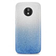 Силиконов калъф / гръб / TPU за Motorola Moto G6 - преливащ / сребристо и синьо / брокат