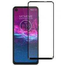 3D full cover Tempered glass Full Glue screen protector Motorola Moto E6 Plus / Извит стъклен скрийн протектор с лепило от вътрешната страна за Motorola Moto E6 Plus - черен