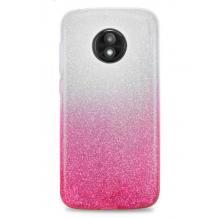 Силиконов калъф / гръб / TPU за Motorola Moto G6 - преливащ / сребристо и розово / брокат
