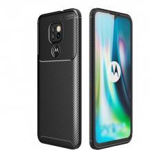 Луксозен силиконов калъф / гръб / TPU Auto Focus за Motorola Moto E7 Plus - черен / Carbon