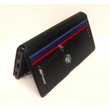 Кожен калъф Flip тефтер със стойка за Lenovo Moto Z - BMW / MPower / черен с червено