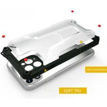 Удароустойчив гръб Hybrid със силиконов кант за Xiaomi Redmi Note 9 - прозрачен / черна рамка
