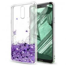 Луксозен твърд гръб 3D Water Case за Nokia 2.3 - прозрачен / течен гръб с брокат / сърца / лилав