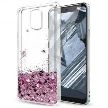 Луксозен твърд гръб 3D Water Case за Xiaomi Redmi Note 9 - прозрачен / течен гръб с брокат / сърца / розов