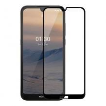 3D full cover Tempered glass Full Glue screen protector Nokia 2.4 / Извит стъклен скрийн протектор с лепило от вътрешната страна за Nokia 2.4 - черен