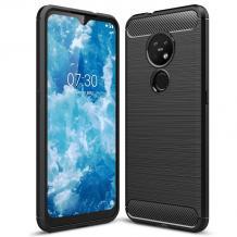 Силиконов калъф / гръб / TPU за Nokia 7.2 / Nokia 6.2 - черен / carbon