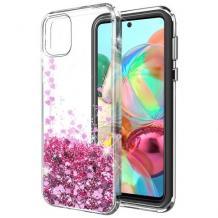 Луксозен твърд гръб 3D Water Case за Samsung Galaxy Note 10 Lite / A81 - прозрачен / течен гръб с брокат / сърца / розов