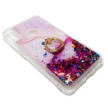 Луксозен силиконов калъф / гръб / tpu 3D Water Case със стойка за Xiaomi Redmi Note 7 - мрамор / розов брокат и сърца