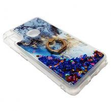 Луксозен силиконов калъф / гръб / tpu 3D Water Case със стойка за Xiaomi Redmi Note 7 - мрамор / син брокат и сърца