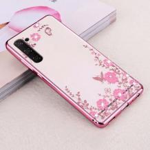 Луксозен силиконов калъф / гръб / TPU с камъни за Samsung Galaxy Note 10 Plus N975 - прозрачен / розови цветя / Rose Gold кант