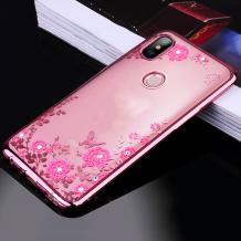 Луксозен силиконов калъф / гръб / TPU с камъни за Xiaomi Redmi S2 - прозрачен / розови цветя / Rose Gold кант