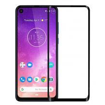 3D full cover Tempered glass Full Glue screen protector Motorola One Vision / Извит стъклен скрийн протектор с лепило от вътрешната страна за Motorola One Vision - черен