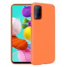 Луксозен силиконов калъф / гръб / Nano TPU за Samsung Galaxy S21 Ultra - оранжев