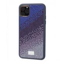 Луксозен твърд гръб Swarovski за Apple iPhone 11 - син / камъни