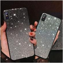 Луксозен силиконов гръб с камъни за Huawei P Smart Z / Y9 Prime 2019 - черно и сребристо
