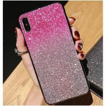 Луксозен силиконов гръб с камъни за Huawei P Smart Z / Y9 Prime 2019 - розово и сребристо