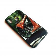 Луксозен стъклен твърд гръб за Samsung Galaxy A10 - оранжева кола