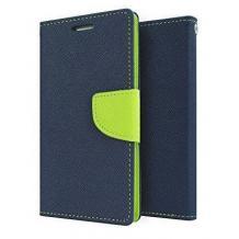 Кожен калъф Flip тефтер със стойка MERCURY Fancy Diary за LG G7 ThinQ - тъмно син със зелено