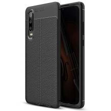 Луксозен силиконов калъф / гръб / TPU за Samsung Galaxy A50 - черен / имитиращ кожа