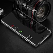 Луксозен калъф Clear View Cover с твърд гръб за Huawei Y7 2019 - черен