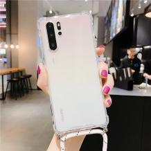 Удароустойчив силиконов калъф / гръб / TPU с връзка за Huawei P30 Pro - прозрачен / бяла връзка