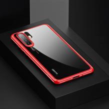 Луксозен силиконов гръб USAMS MANT Series TPU за Huawei P30 Pro - прозрачен / червен кант