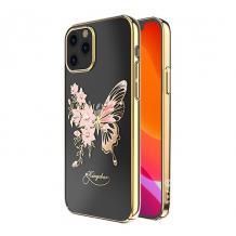 "Луксозен твърд гръб KINGXBAR Swarovski Diamond за Apple iPhone 12 Pro Max 6.7"" - прозрачен със златист кант / розова пеперуда"
