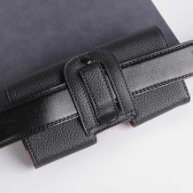 Кожен калъф / кобур / за колан за Samsung Galaxy A11 - черен