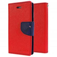 Луксозен кожен калъф Flip тефтер със стойка MERCURY Fancy Diary за Lenovo Vibe S1 Lite - червен