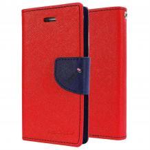 Луксозен кожен калъф Flip тефтер със стойка MERCURY Fancy Diary за Lenovo Vibe C / A2020 - червен