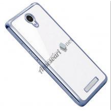 Луксозен силиконов калъф / гръб / TPU за Lenovo A2010 - прозрачен / тъмно сив кант