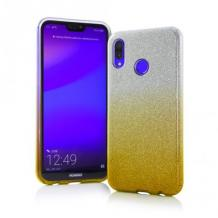 Силиконов калъф / гръб / TPU за Samsung Galaxy A40 - преливащ / сребристо и златисто / брокат