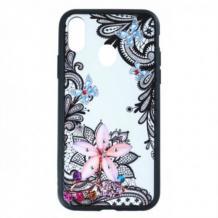 Луксозен твърд гръб BEAUTY с камъни за Samsung Galaxy A20e - прозрачен / черен кант / цвете с пеперуди