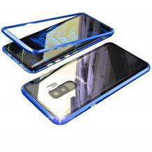 Магнитен калъф Bumper Case 360° FULL за Samsung Galaxy S9 Plus G965 - прозрачен / синя рамка