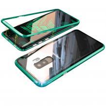 Магнитен калъф Bumper Case 360° FULL за Samsung Galaxy S9 Plus G965 - прозрачен / зелена рамка