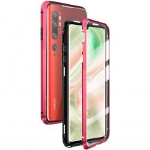 Магнитен калъф Bumper Case 360° FULL за Xiaomi Mi Note 10 - прозрачен / червена рамка