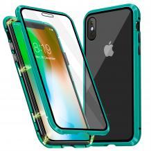 Магнитен калъф Bumper Case 360° FULL за Apple iPhone X / iPhone XS - прозрачен / зелена рамка