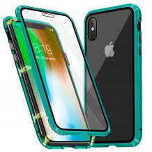 Магнитен калъф Bumper Case 360° FULL за Apple iPhone XS Max - прозрачен / зелена рамка