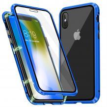 Магнитен калъф Bumper Case 360° FULL за Apple iPhone XS Max - прозрачен / синя рамка