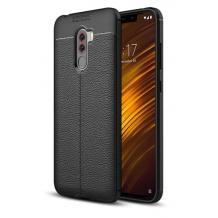Луксозен силиконов калъф / гръб / TPU за Xiaomi Pocophone F1 - черен / имитиращ кожа