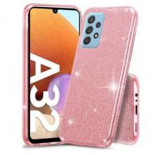 Силиконов калъф / гръб / TPU за Samsung Galaxy A32 5G - розов / брокат